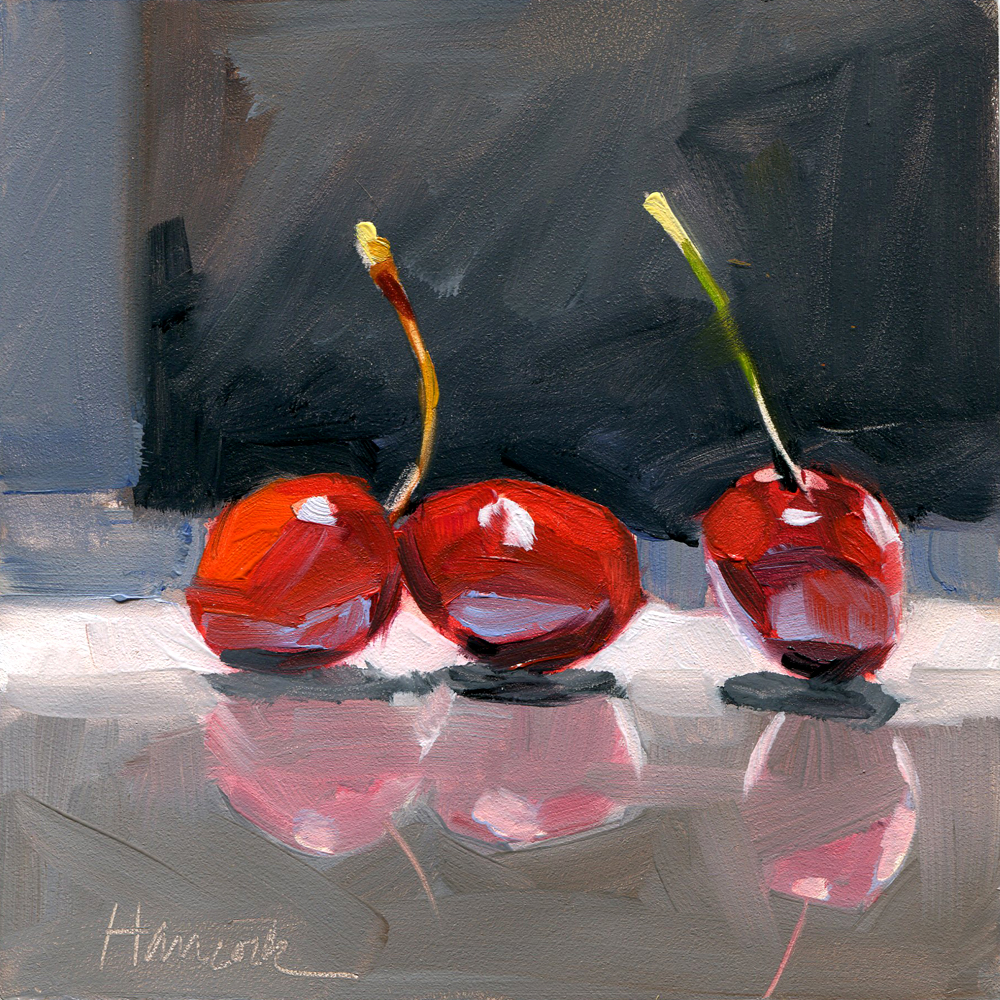 Gretchen Hancocks Paintings Three Red Cherries Black White Gray