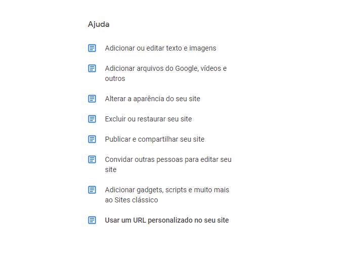 Suporte de ajuda do Google Sites