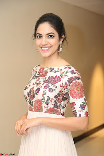 Ritu Varma smiling face Cream Anarkali dress at launch of OPPO New Selfie Camera F3 ~  Exclusive 099.JPG