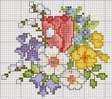 Buchet de flori de primavara superb colorat - schita de cusut