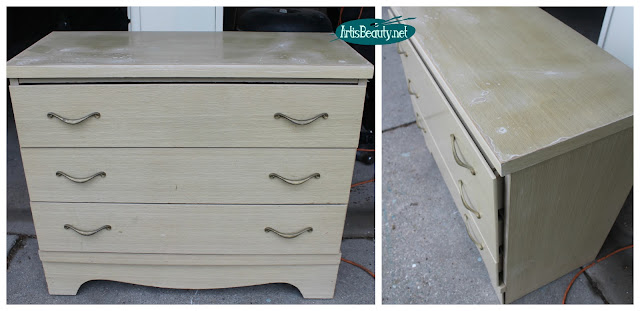 vintage laminate white washed oak chest of drawers dresser makeover before