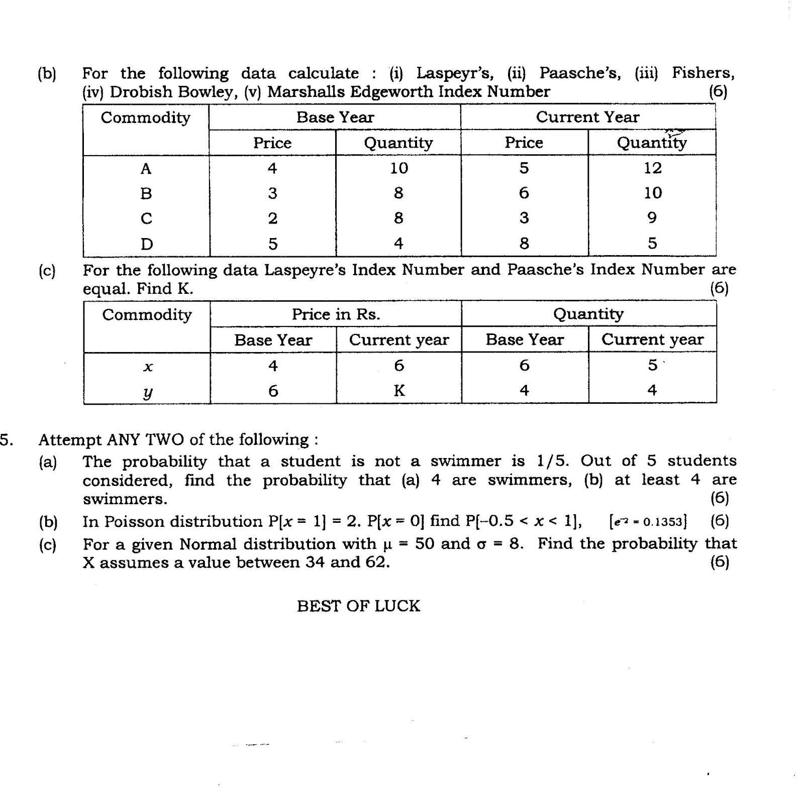 Question Papers Collection: MATHS SEM - II (FYBCOM)