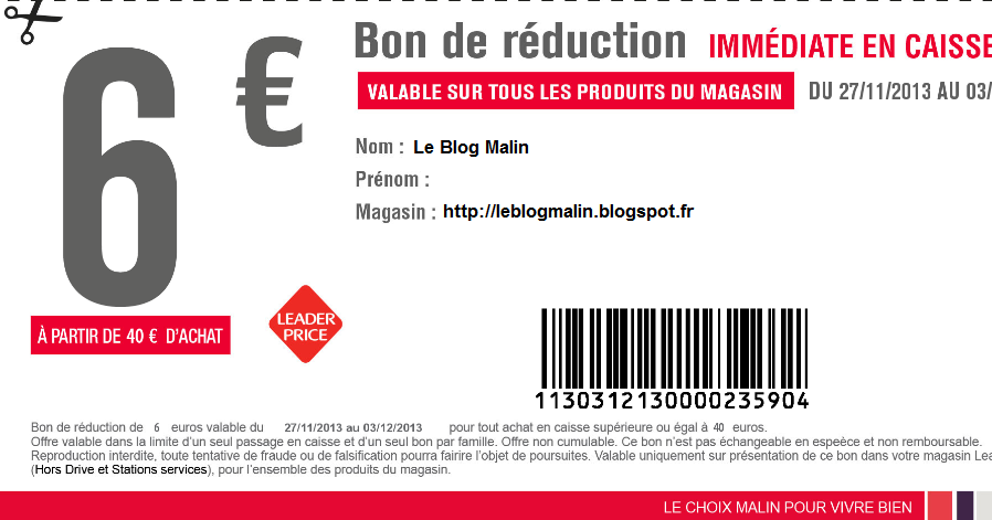 Leader price bon de reduction 10 euros