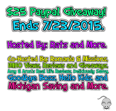 Enter the  $25 Paypal Giveaway . Ends 7/23