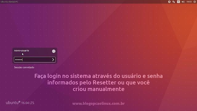 Tela de login do Ubuntu 16.04 LTS