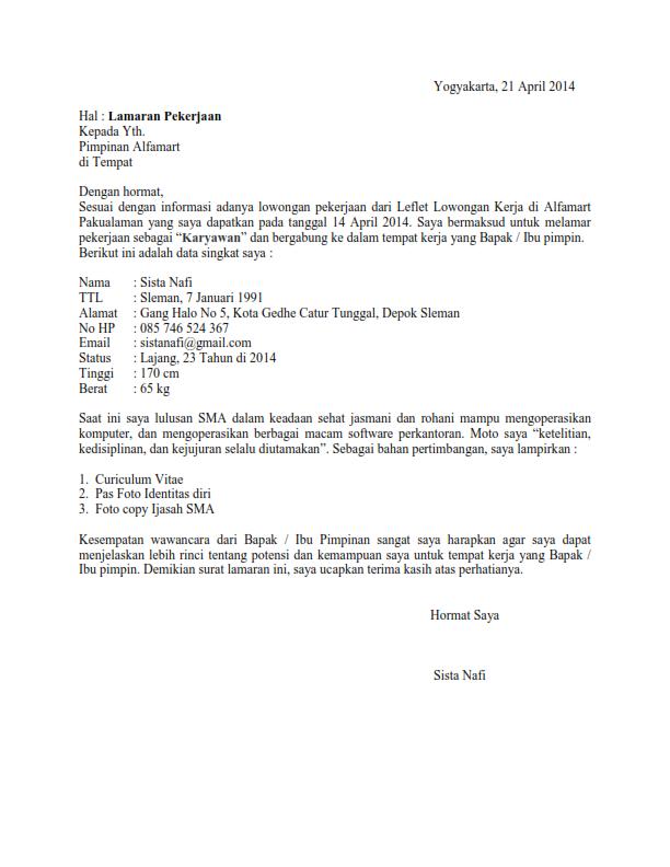 Contoh Surat Lamaran Kerja Di Toko Tulis Tangan
