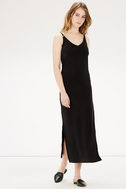 black warehouse strappy maxi dress, v back black maxi dress,