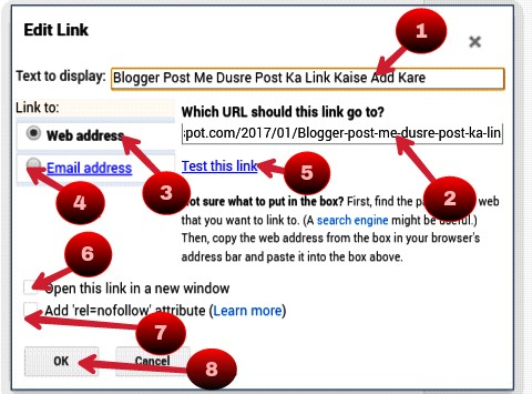 add blogger post link and click ok
