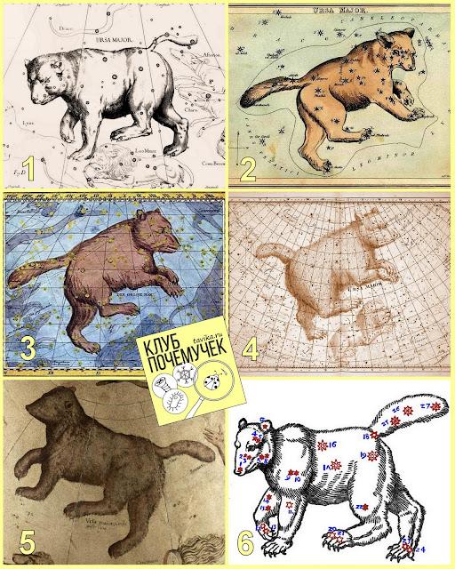 Изображения созвездия Большой Медведицы на звездных картах