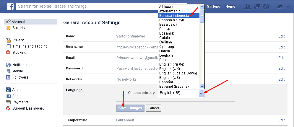 Facebook Bahasa Indonesia
