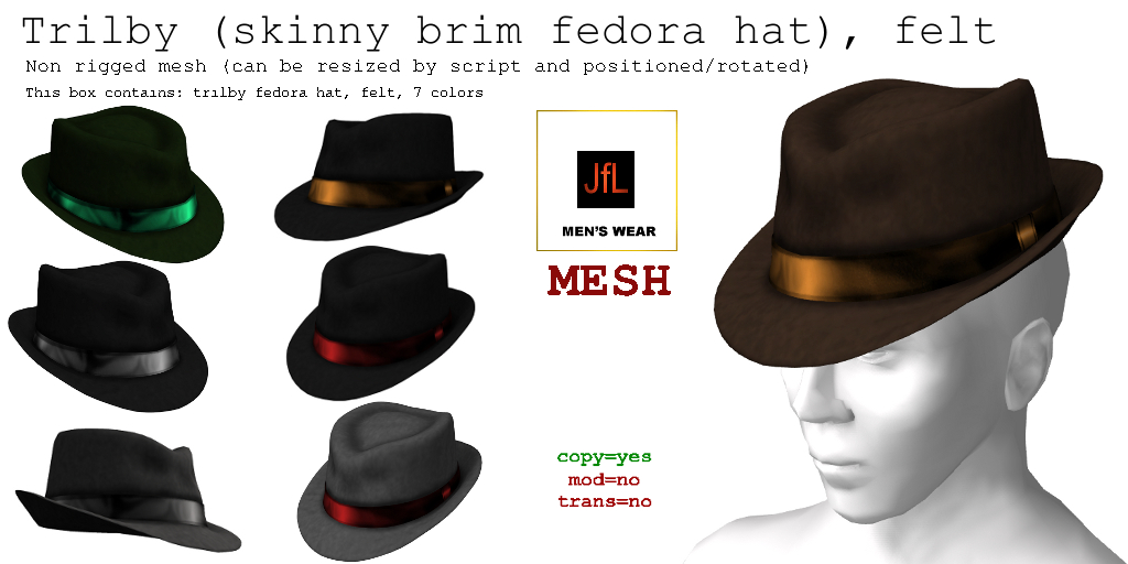 fcf46ab27ea Real Hats! JfL's store blog, hats for men: Trilby fedora hat, felt