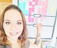 Image of Sarra Cannon with her Kanban board