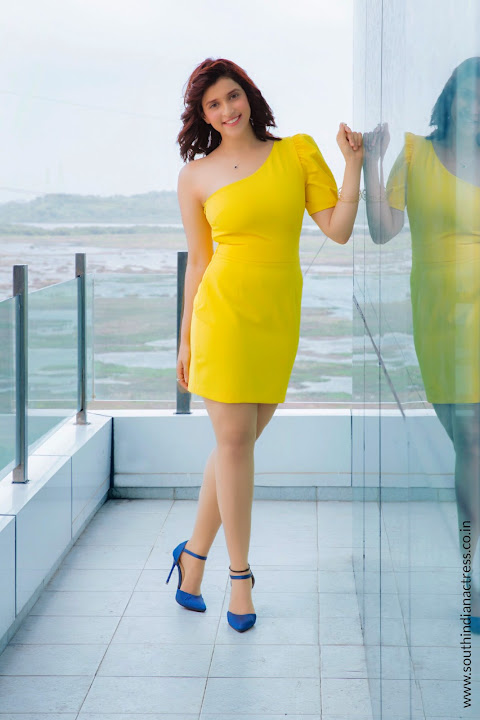 Mannara Chopra in Yellow Short Dress