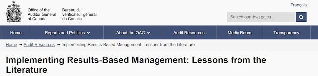 Auditor-General of Canada web page, on lessons learned about implementing RBM