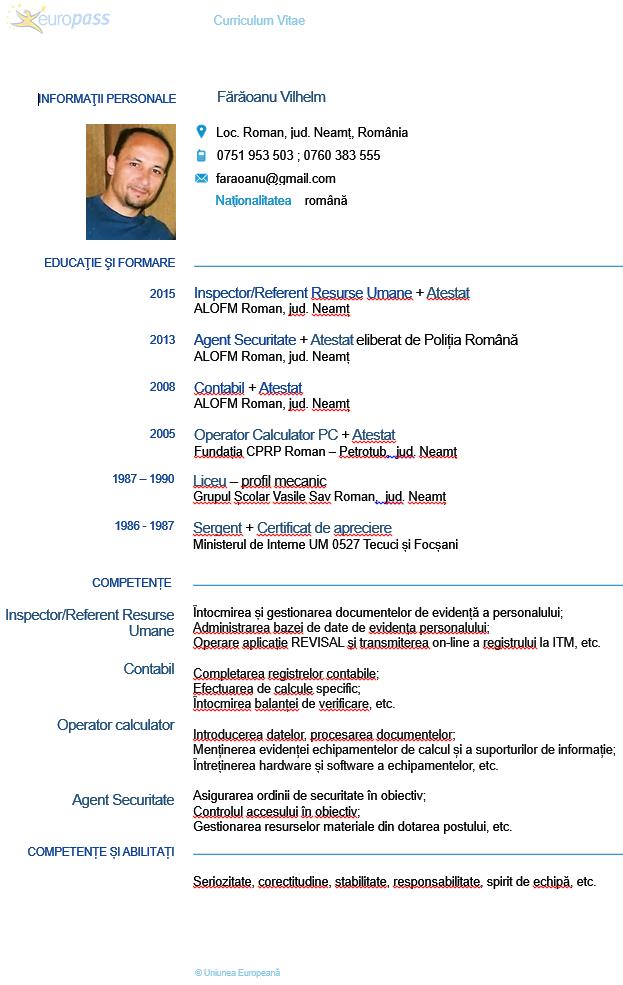 Curriculum Vitae Fărăoanu Vilhelm