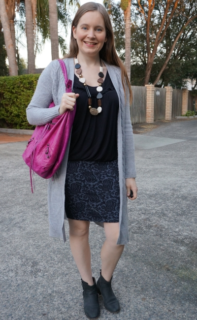 black tank, jacquard pencil skirt, wool maxi cardigan and pink Balenciaga bag