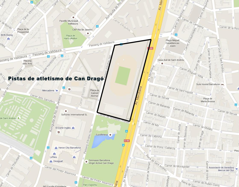 Mapa Pistas de atletismo de Can Dragó