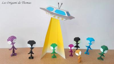 Les aliens en Origami et la soucoupe volante en Papercraft