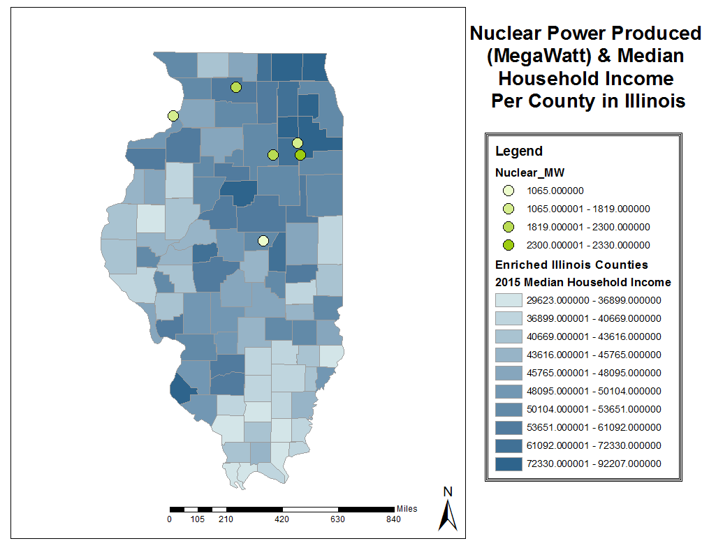 comparing illinois s nuclear power produced mw median household income per county