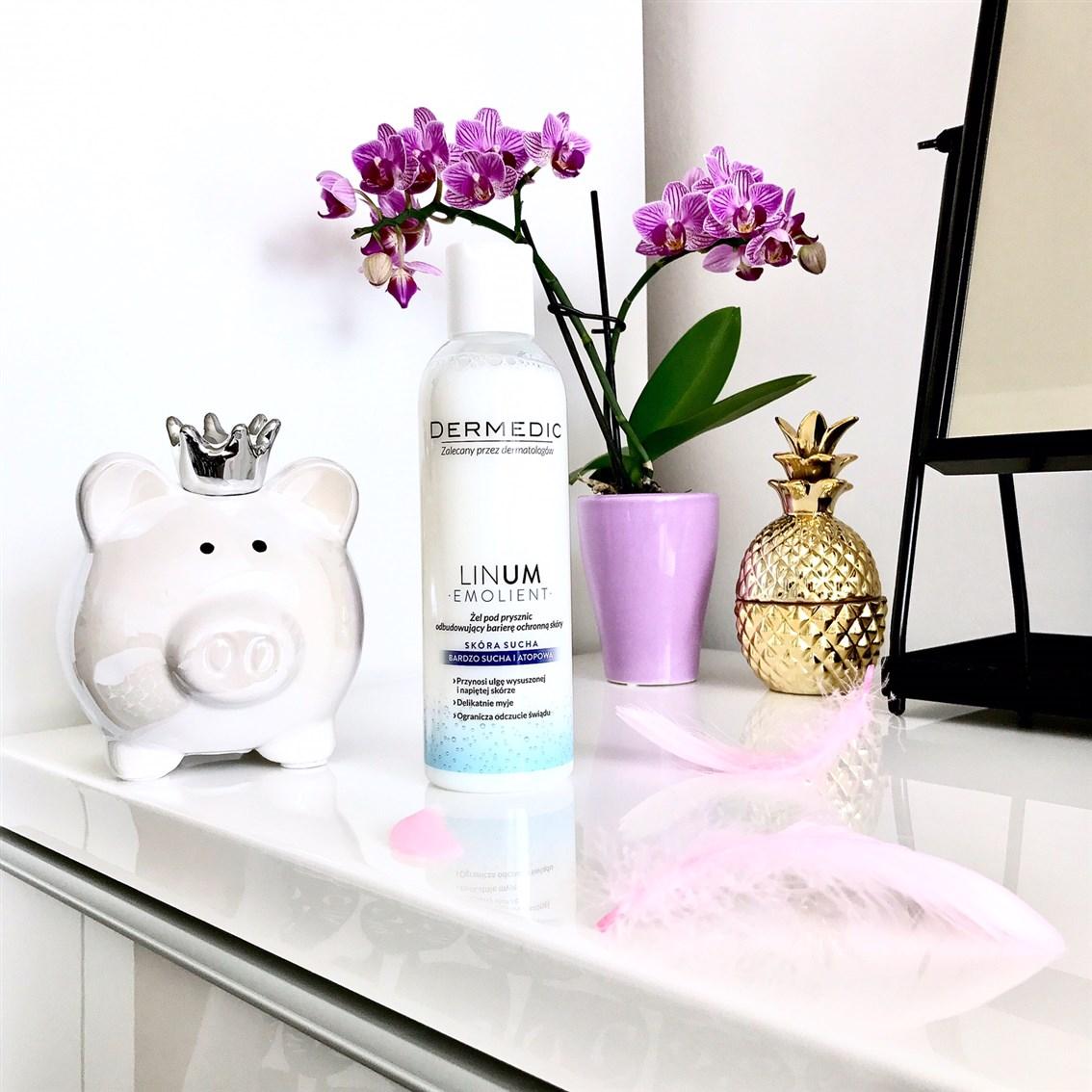 Dermedic Linum Emolient żel pod prysznic, łagodny żel pod prysznic, żel dla suchej skóry