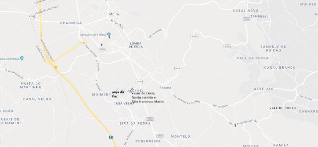Mapa dos locais das aparições de Fátima