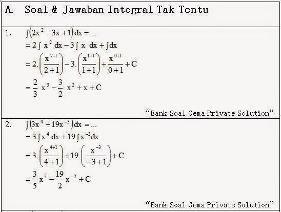 Contoh Soal Integral Tak Tentu