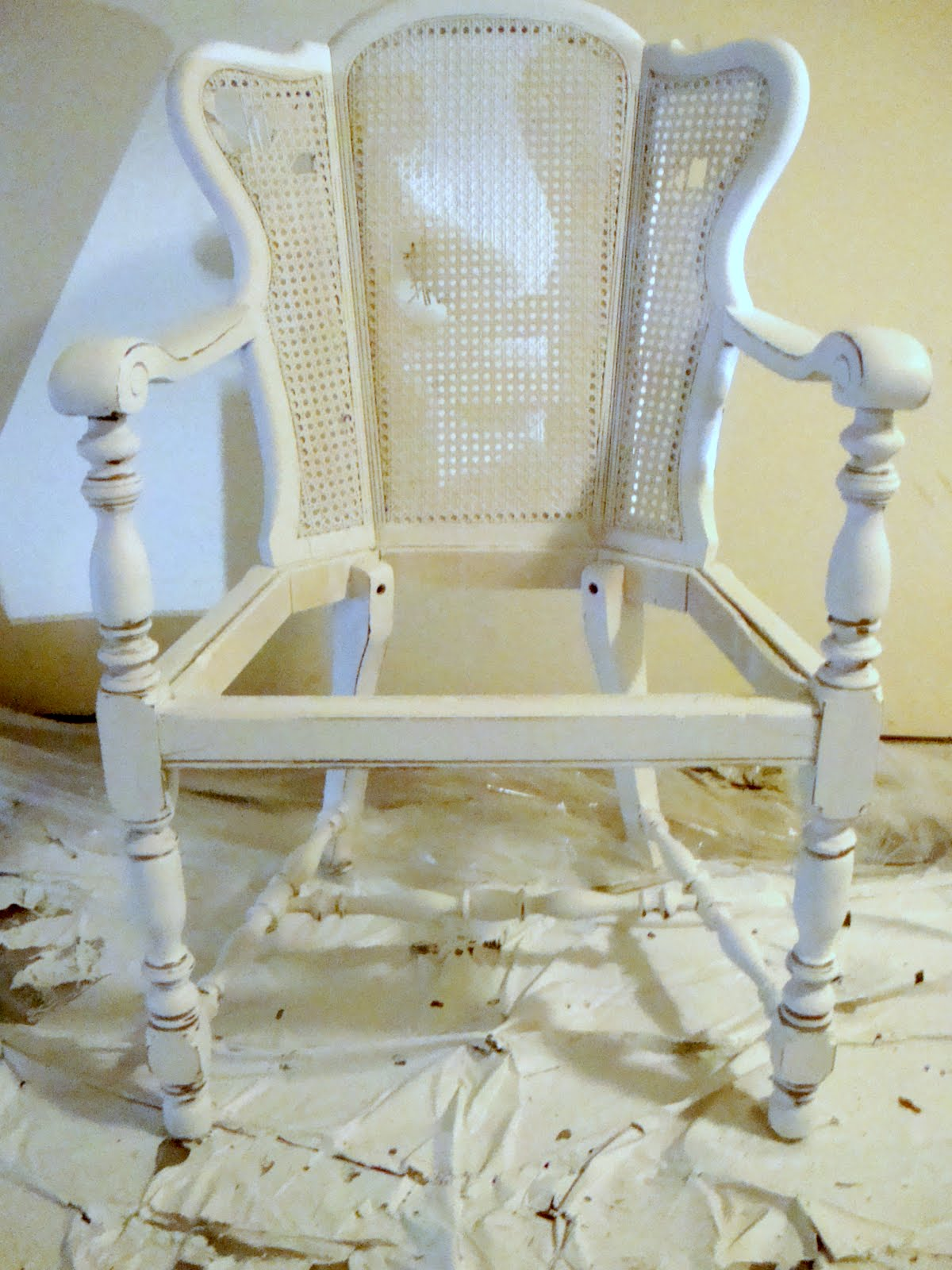 How To Replace Cane Back Chair With Fabric Pine Kitchen Chairs Arms Sugar And Spackle Before After Diy Upholstered