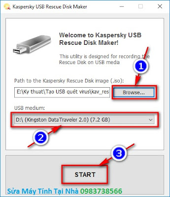 Tạo USB Kaspersky quét virus máy tính