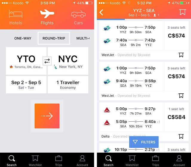 KAYAK; aplikacja; app; travel app