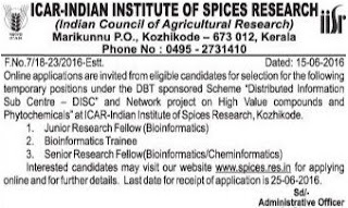 Online Applications are invited for JRF, SRF and Trainee Posts IISR Kozhikode