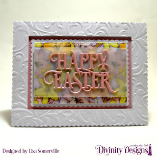 Divinity Designs Embossing Folder: Flourishes, Custom Dies: Happy Easter Caps, Pierced Rectangles, Scalloped Rectangles, Paper Collection: Spring Flowers 2019