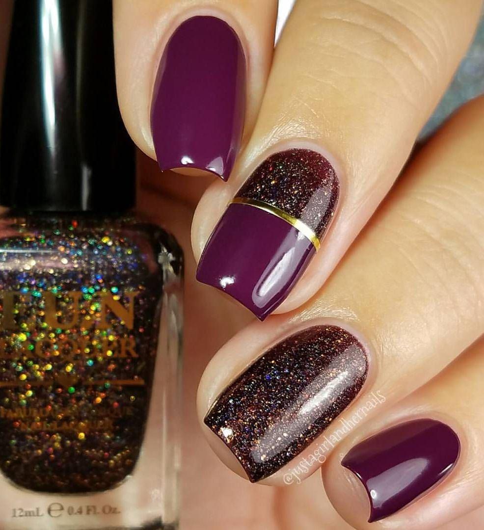 cute glitter nail art idea