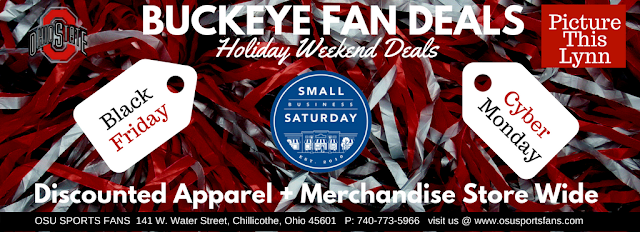 OSU Sports fans holiday deals ad with scarlet and grey pom poms
