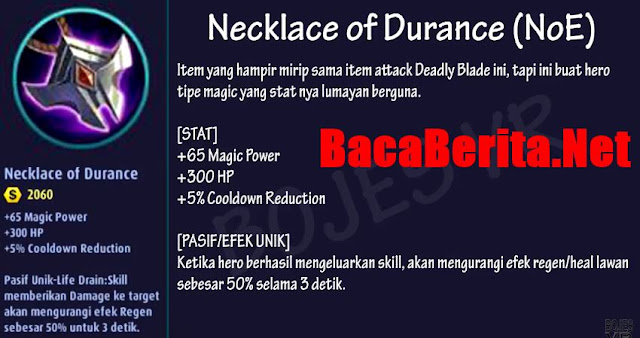 Fungsi item mage Necklace of Durance mobile legend