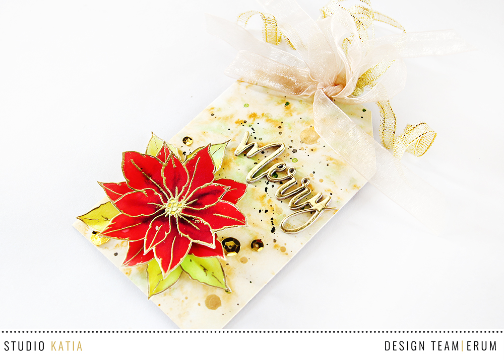 Studio Katia Merry Poinsettia Stamp Set | Watercoloured with distress inks | Erum Tasneem | @pr0digy0