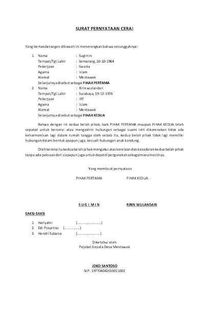 14 Contoh Surat Cerai Pengertian Dan Daftar Berkas Yang