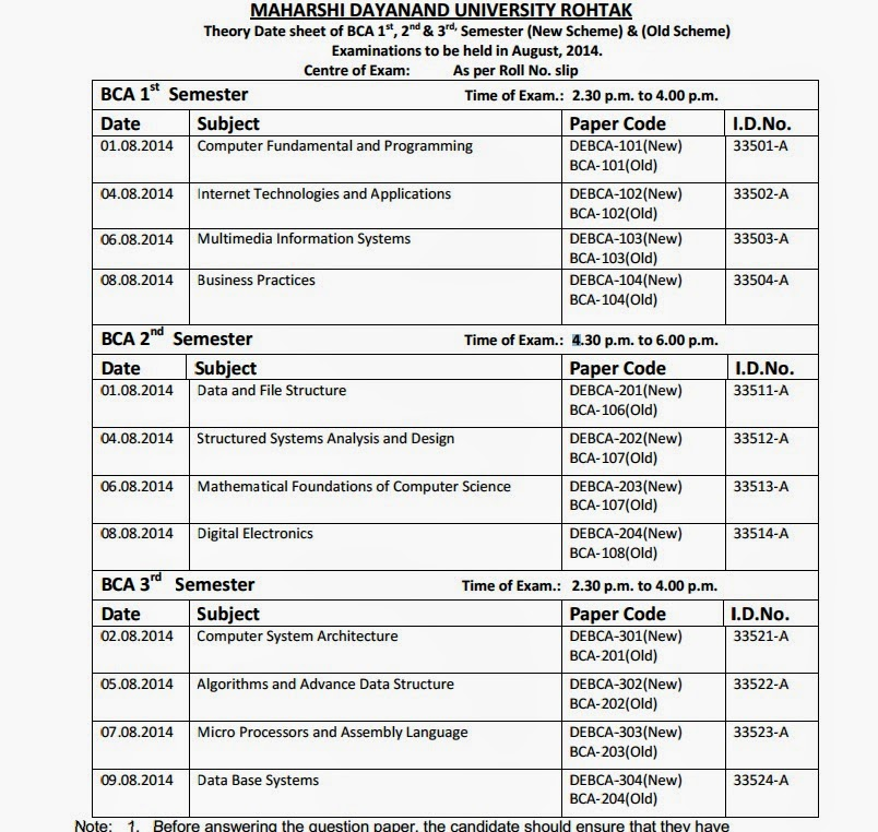 mdu Date sheet of BCA 1st,2nd and 3rd Semester ~ job in haryana