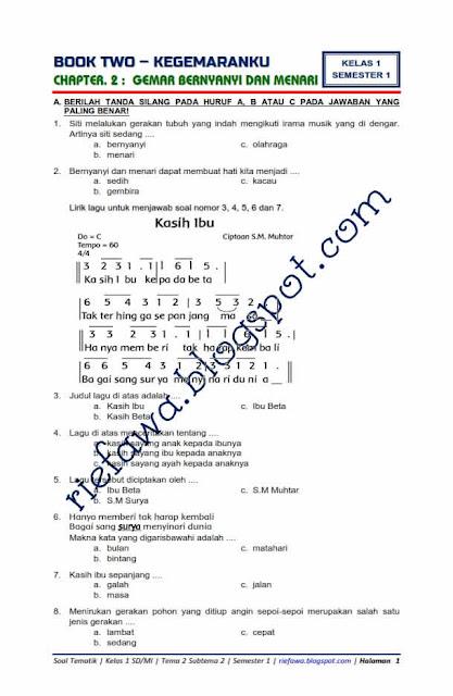 Soal Kelas 1 Tema 2 Subtema 2 Pdf Docx