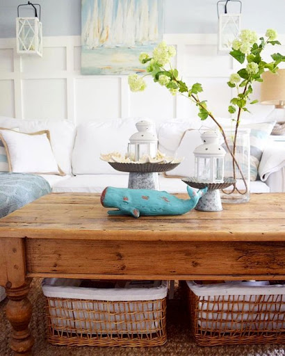 Coastal Cottage Style Living Room Makeover Ideas