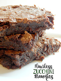 Flourless Zucchini Brownies....these gluten-free, super easy, brownies from scrach will be a hit!  Rich, fudgy and no one will notice the vegetable tucked inside! (sweetandsavoryfood.com)