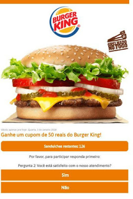 Hackers usam cupom falso do Burger King em novo golpe no WhatsApp