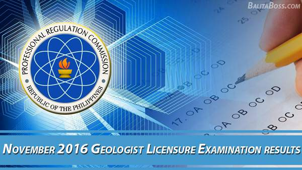 Geologist November 2016 Board Exam Results