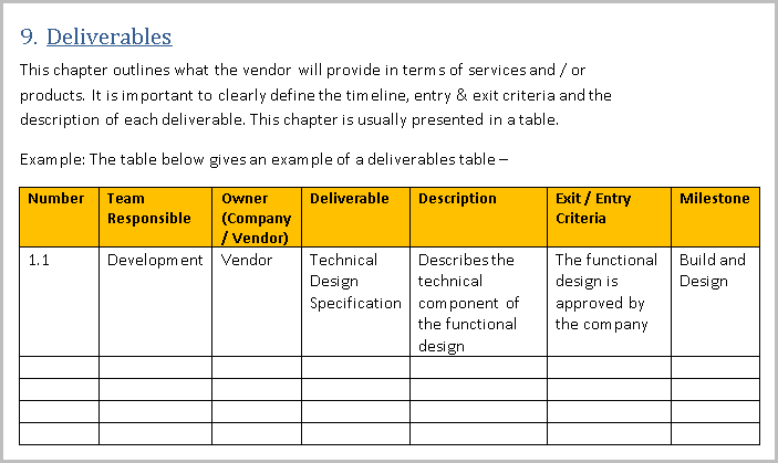 SOW template Deliverable