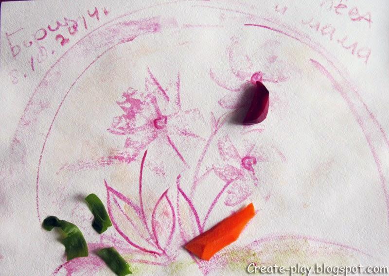 рисуем свеклой морковкой луком
