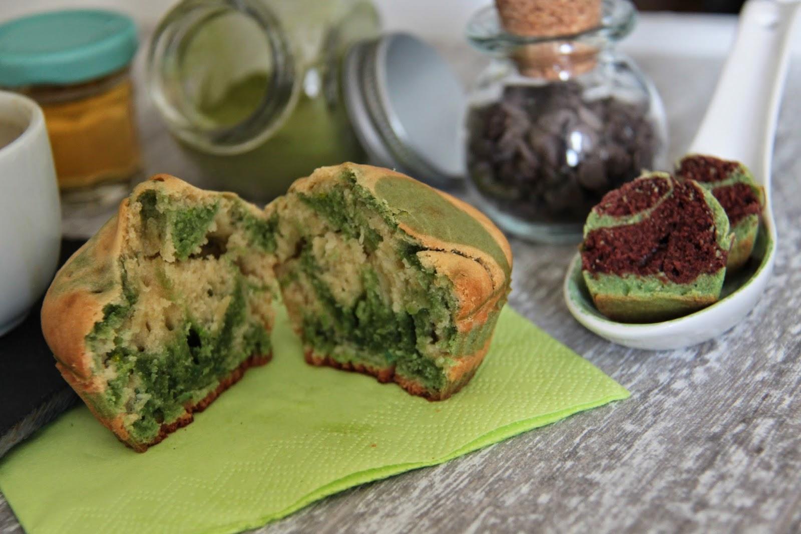 Recettes végétales (véganes): Muffins marbrés véganes vanille-matcha et vanille-chocolat
