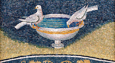 "The iconography of the doves drinking from the foutain of life (""a well of water springing up into everlasting life."" John 4, 14) is repeated four times in the Mausoleum of Galla Placidia, above the four arches supporting the tambour and the vaulted ceiling."