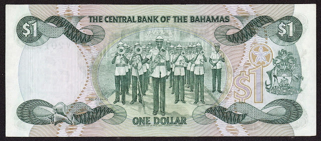 Bahamas money currency 1 Dollar banknote 1984 Royal Bahamas Police Force Band