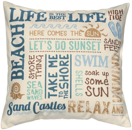 Beach Life Words Cotton Pillow