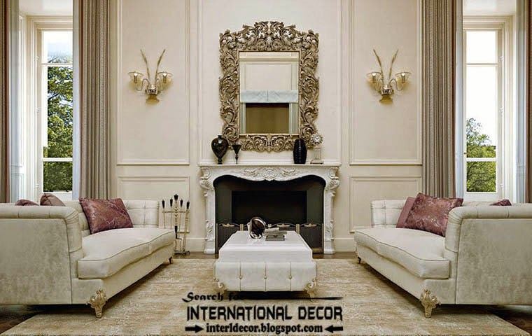 luxury classic living room interiors with luxury mirror and fireplace
