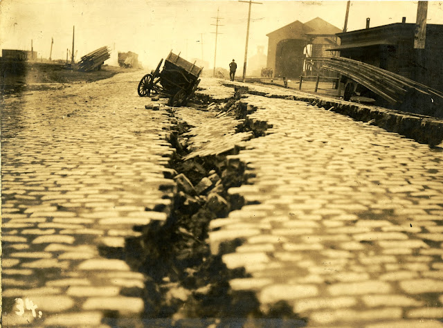 Street cracked near the San Francisco waterfront, 1906 California Historical Society